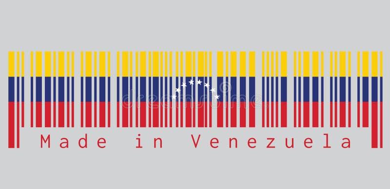 Ο γραμμωτός κώδικας έθεσε το χρώμα της σημαίας της Βενεζουέλας, κείμενο: Κατασκευασμένος στη Βενεζουέλα έννοια της πώλησης ή της  διανυσματική απεικόνιση
