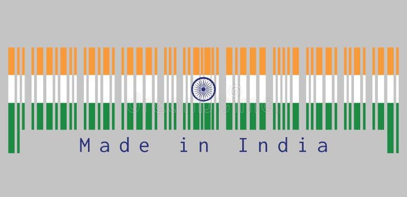 Ο γραμμωτός κώδικας έθεσε το χρώμα της σημαίας της Ινδίας, tricolor του σαφρανιού της Ινδίας, άσπρος και πράσινος με τη ρόδα Asho διανυσματική απεικόνιση