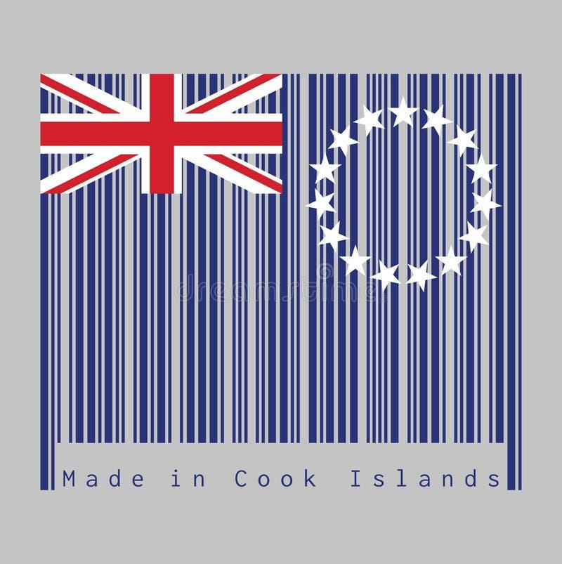 Ο γραμμωτός κώδικας έθεσε το χρώμα της σημαίας νήσων Κουκ, μπλε ensign με ένα δαχτυλίδι του αστεριού και του Union Jack κείμενο:  ελεύθερη απεικόνιση δικαιώματος