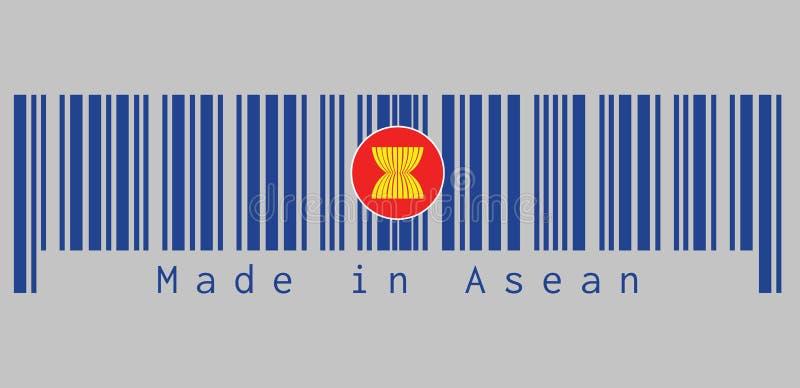 Ο γραμμωτός κώδικας έθεσε το χρώμα της σημαίας της ASEAN, δέκα κίτρινοι μίσχοι ορυζώνα ή ρυζιού επισύρονται την προσοχή στη μέση  απεικόνιση αποθεμάτων