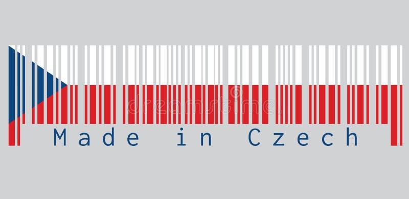 Ο γραμμωτός κώδικας έθεσε το χρώμα της τσεχικής σημαίας, δύο ίσος οριζόντιος άσπρος και κόκκινος με ένα μπλε τρίγωνο από την πλευ διανυσματική απεικόνιση