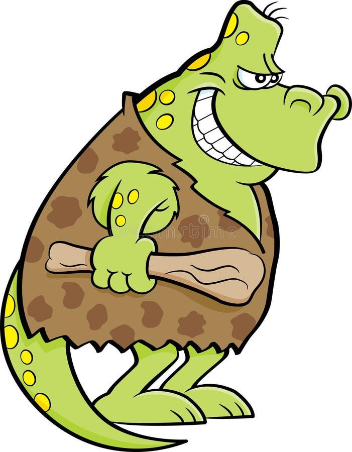 Ο δεινόσαυρος κινούμενων σχεδίων έντυσε ως caveman διανυσματική απεικόνιση