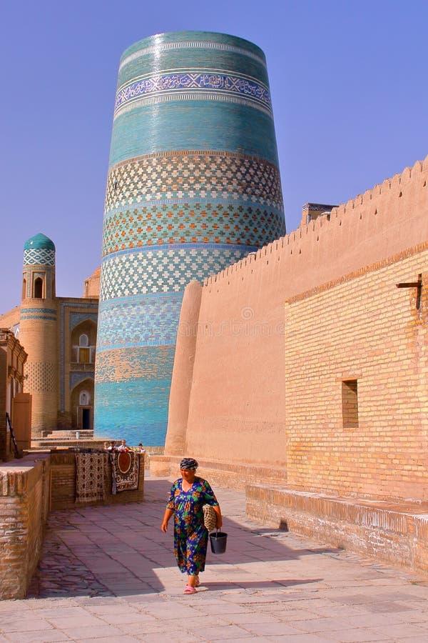 Ο δευτερεύων μιναρές Kalta στην παλαιά πόλη Khiva στοκ φωτογραφίες με δικαίωμα ελεύθερης χρήσης