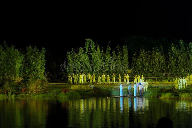 Ο δεύτερος λαμπτήρας ` κεφαλαίου ` - η μεγάλης κλίμακας όχθη ποταμού παρουσιάζει ` Jinggangshan ` στοκ εικόνα
