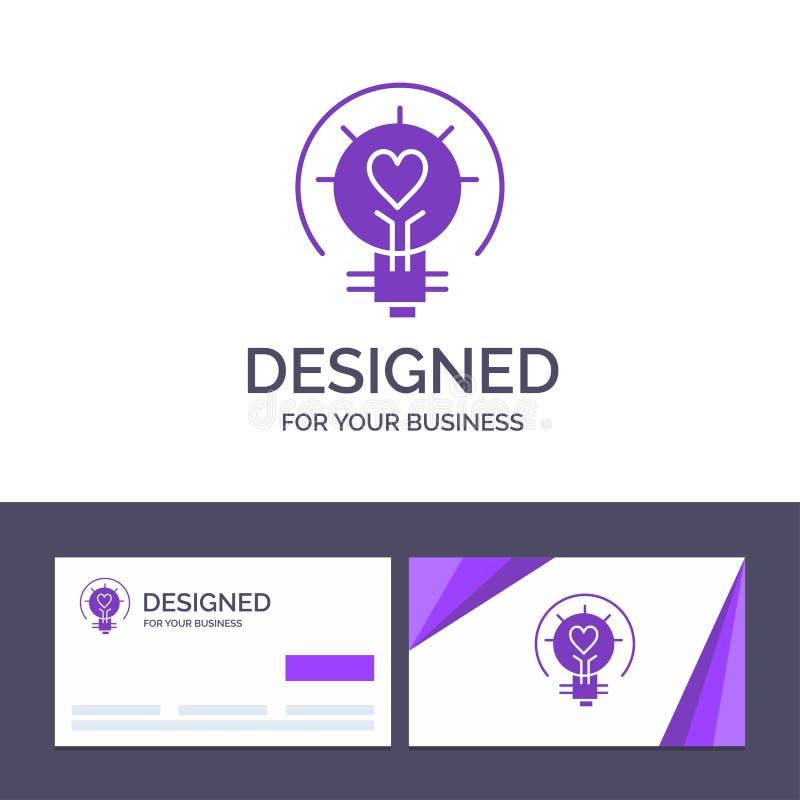 Ο δημιουργικός βολβός προτύπων επαγγελματικών καρτών και λογότυπων, βαλεντίνος, φως, λάμπα φωτός, τοποθετεί αιχμή στη διανυσματικ ελεύθερη απεικόνιση δικαιώματος