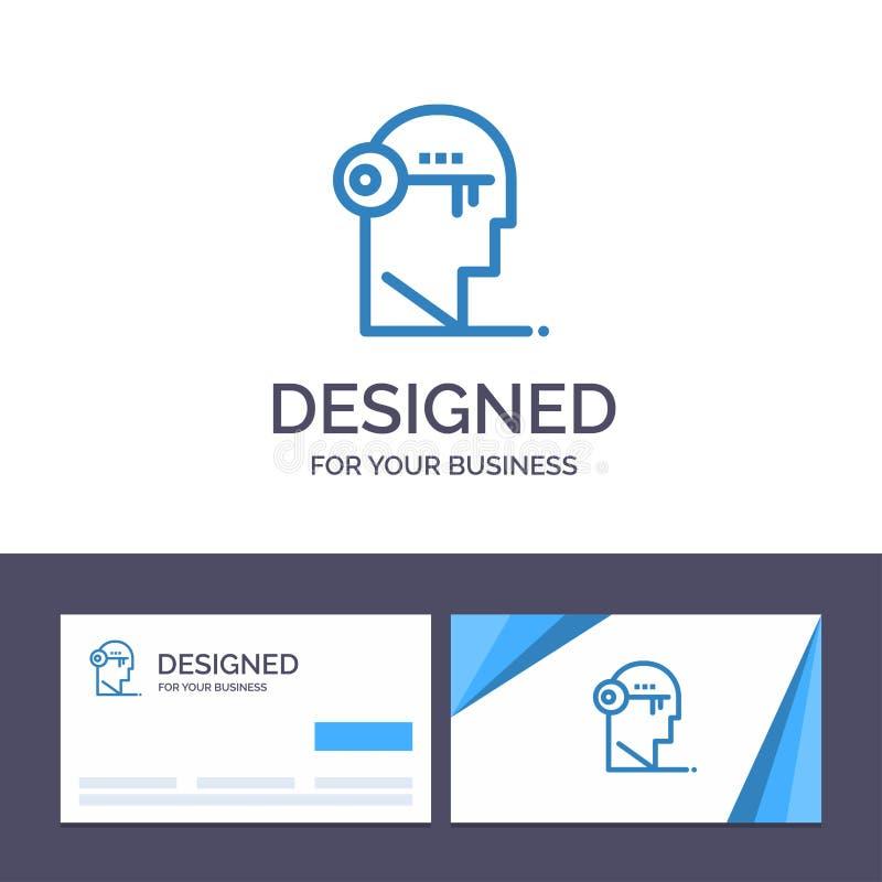Ο δημιουργικός εγκέφαλος προτύπων επαγγελματικών καρτών και λογότυπων, κλειδί, κλειδαριά, μυαλό, ξεκλειδώνει τη διανυσματική απει διανυσματική απεικόνιση