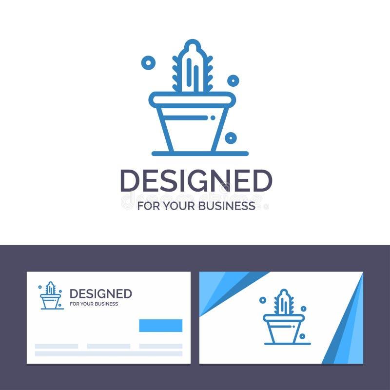 Ο δημιουργικός κάκτος προτύπων επαγγελματικών καρτών και λογότυπων, φύση, δοχείο, αναπηδά τη διανυσματική απεικόνιση διανυσματική απεικόνιση