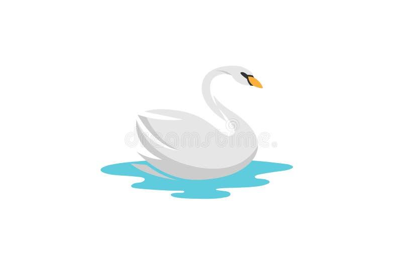 Ο δημιουργικός λευκός Κύκνος που κολυμπά το λογότυπο ποταμών απεικόνιση αποθεμάτων