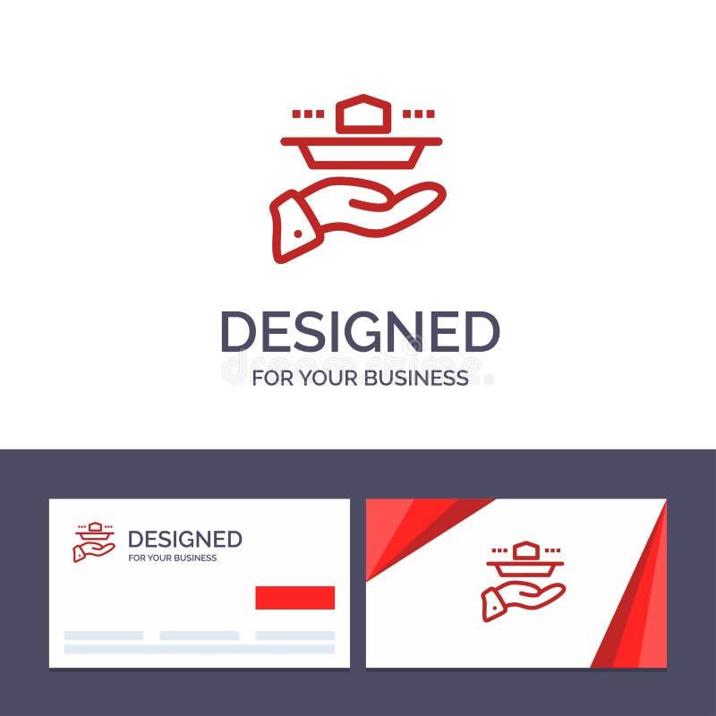Ο δημιουργικός σερβιτόρος προτύπων επαγγελματικών καρτών και λογότυπων, εστιατόριο, εξυπηρετεί, μεσημεριανό γεύμα, διανυσματική α απεικόνιση αποθεμάτων
