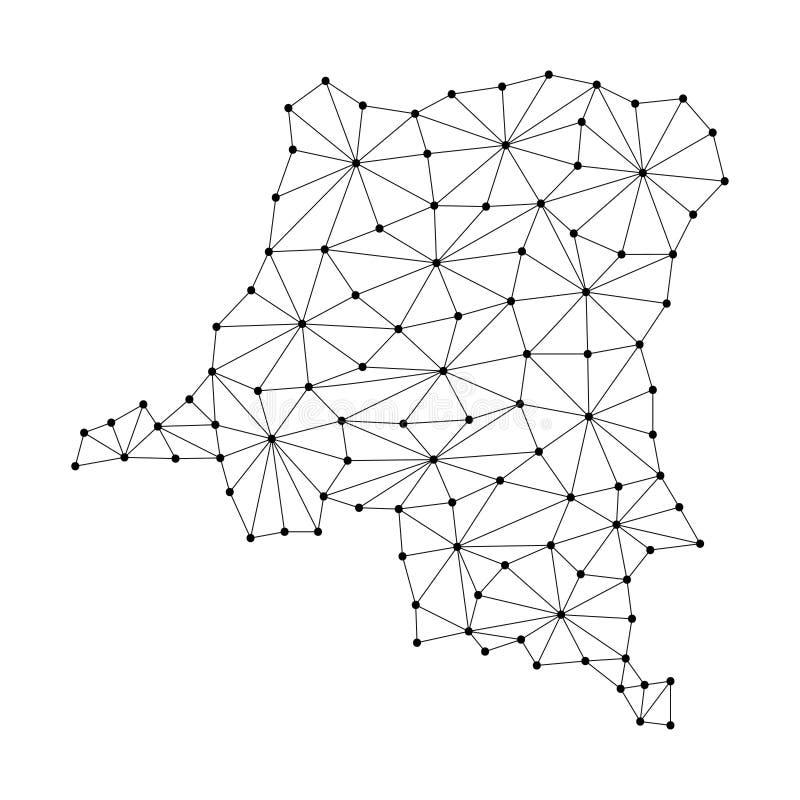 Ο δημοκρατικός χάρτης του Κονγκό Δημοκρατίας του polygonal δικτύου γραμμών μωσαϊκών, ακτίνες, διαστίζει την απεικόνιση διανυσματική απεικόνιση
