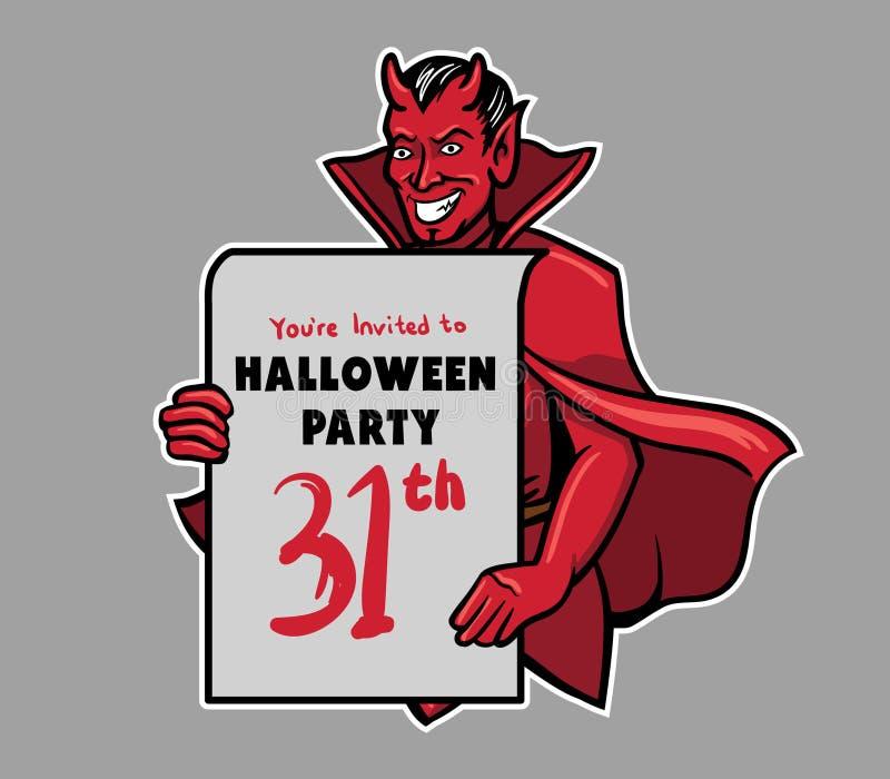 Ο διάβολος φέρνει τον πίνακα πρόσκλησης κόμματος αποκριών διανυσματική απεικόνιση