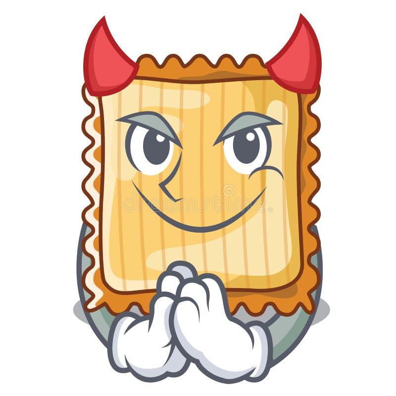 Ο διάβολος lasagne είναι μαγειρευμένος στο φούρνο μασκότ διανυσματική απεικόνιση