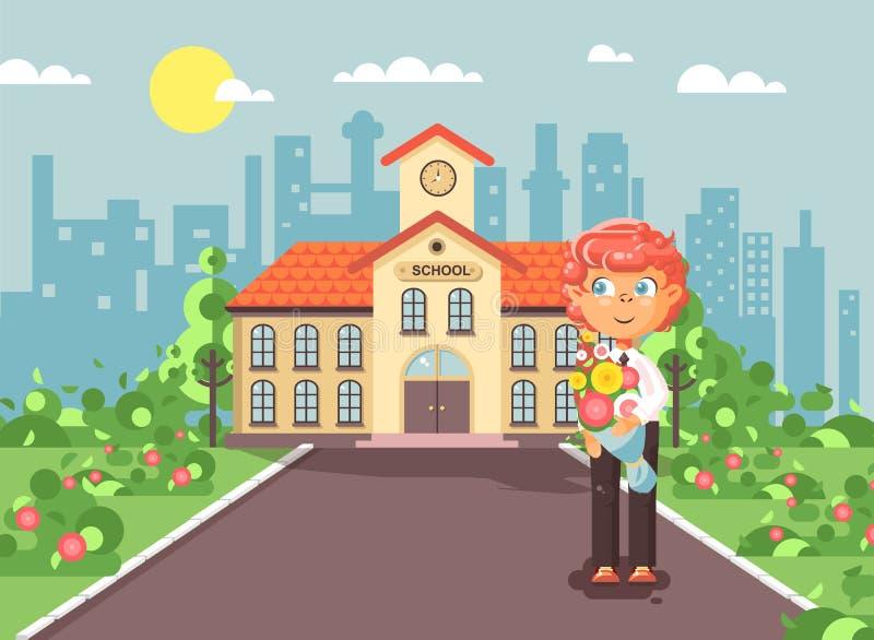 Ο διανυσματικός απεικόνισης χαρακτήρα κινουμένων σχεδίων redhead μαθητής αγοριών παιδιών μόνος, μαθητής, στάση σπουδαστών με την  ελεύθερη απεικόνιση δικαιώματος