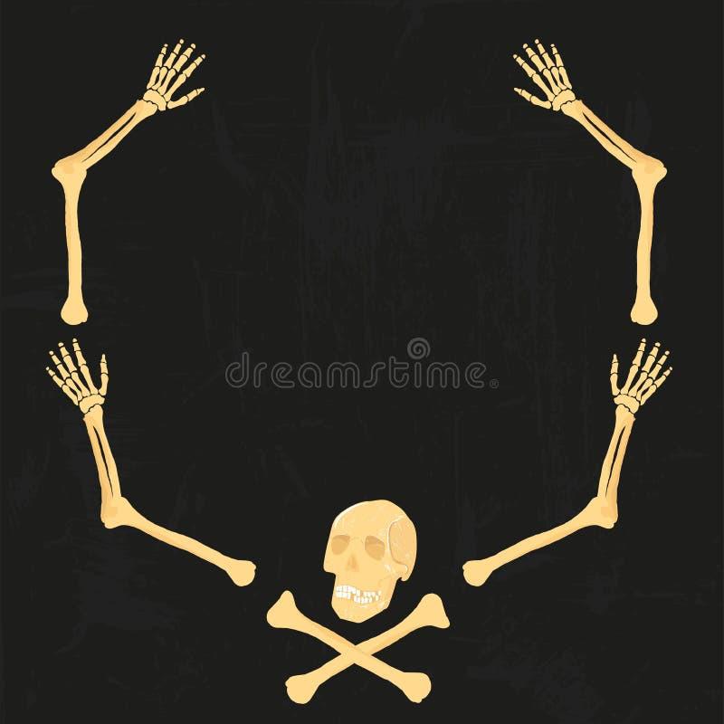 Ο διανυσματικός βραχίονας αποστεώνει το ανθρώπινο πλαίσιο σκελετών scull που απομονώνεται στο μαύρο υπόβαθρο grunge Για το σχέδιο απεικόνιση αποθεμάτων