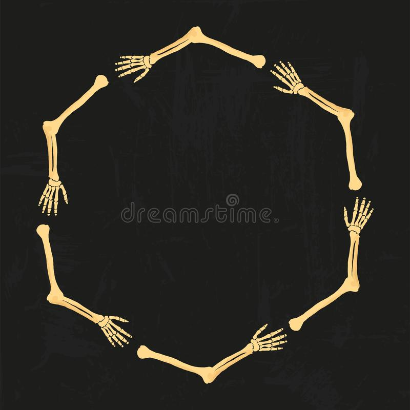 Ο διανυσματικός βραχίονας αποστεώνει το ανθρώπινο πλαίσιο σκελετών που απομονώνεται στο μαύρο υπόβαθρο grunge Για το σχέδιο κομμά διανυσματική απεικόνιση