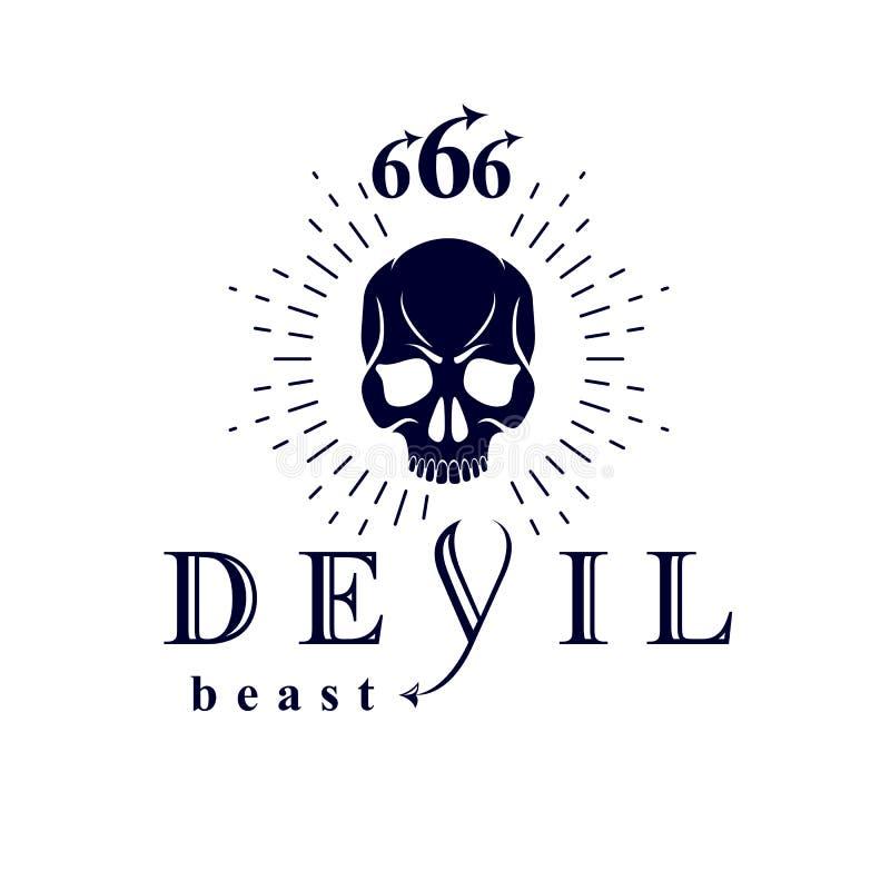 Ο διανυσματικός Μαύρος που εκφοβίζει το νεκρό επικεφαλής λογότυπο Απόκρυφος σατανικός δαίμονας, διανυσματική απεικόνιση