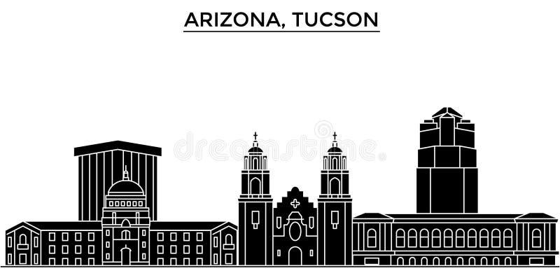 Ο διανυσματικός ορίζοντας πόλεων αμερικανικής, Αριζόνα Tucson αρχιτεκτονικής, εικονική παράσταση πόλης ταξιδιού με τα ορόσημα, κτ απεικόνιση αποθεμάτων