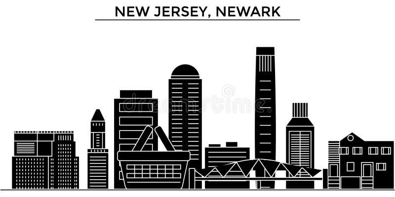 Ο διανυσματικός ορίζοντας πόλεων αμερικανικής, Νιου Τζέρσεϋ, Newark αρχιτεκτονικής, εικονική παράσταση πόλης ταξιδιού με τα ορόση ελεύθερη απεικόνιση δικαιώματος