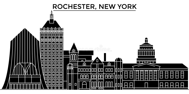 Ο διανυσματικός ορίζοντας πόλεων αμερικανικής, Ρότσεστερ, Νέα Υόρκη αρχιτεκτονικής, εικονική παράσταση πόλης ταξιδιού με τα ορόση ελεύθερη απεικόνιση δικαιώματος