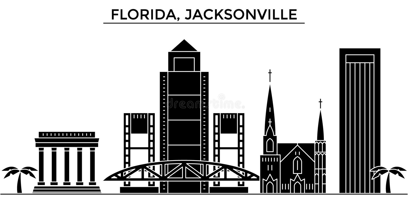 Ο διανυσματικός ορίζοντας πόλεων αμερικανικής, Φλώριδα, Τζάκσονβιλ αρχιτεκτονικής, εικονική παράσταση πόλης ταξιδιού με τα ορόσημ ελεύθερη απεικόνιση δικαιώματος