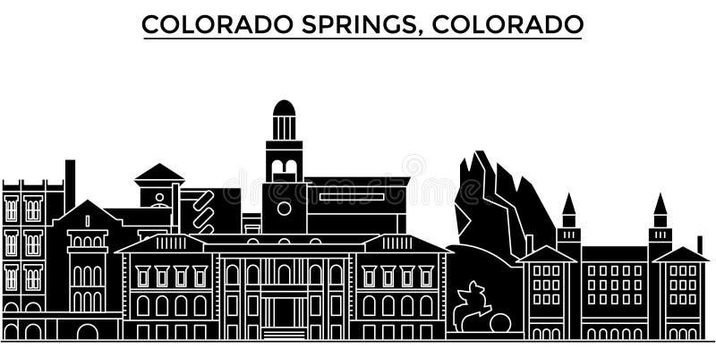 Ο διανυσματικός ορίζοντας πόλεων αμερικανικής, Colorado Springs αρχιτεκτονικής, εικονική παράσταση πόλης ταξιδιού με τα ορόσημα,  απεικόνιση αποθεμάτων