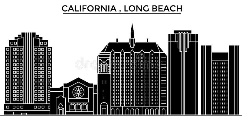 Ο διανυσματικός ορίζοντας πόλεων αρχιτεκτονικής αμερικανικών, Καλιφόρνια Λονγκ Μπιτς, εικονική παράσταση πόλης ταξιδιού με τα ορό απεικόνιση αποθεμάτων