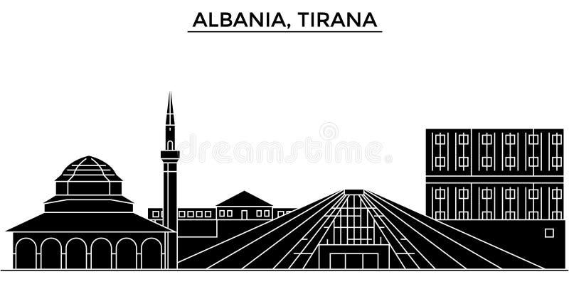 Ο διανυσματικός ορίζοντας πόλεων αρχιτεκτονικής της Αλβανίας, Τίρανα, εικονική παράσταση πόλης ταξιδιού με τα ορόσημα, κτήρια, απ απεικόνιση αποθεμάτων