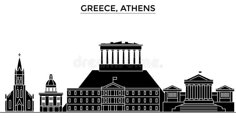 Ο διανυσματικός ορίζοντας πόλεων αρχιτεκτονικής της Ελλάδας, Αθήνα, εικονική παράσταση πόλης ταξιδιού με τα ορόσημα, κτήρια, απομ ελεύθερη απεικόνιση δικαιώματος