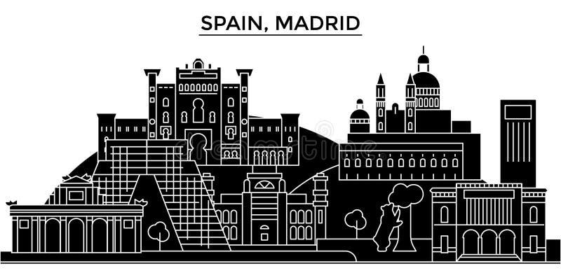 Ο διανυσματικός ορίζοντας πόλεων αρχιτεκτονικής της Ισπανίας, Μαδρίτη, εικονική παράσταση πόλης ταξιδιού με τα ορόσημα, κτήρια, α ελεύθερη απεικόνιση δικαιώματος