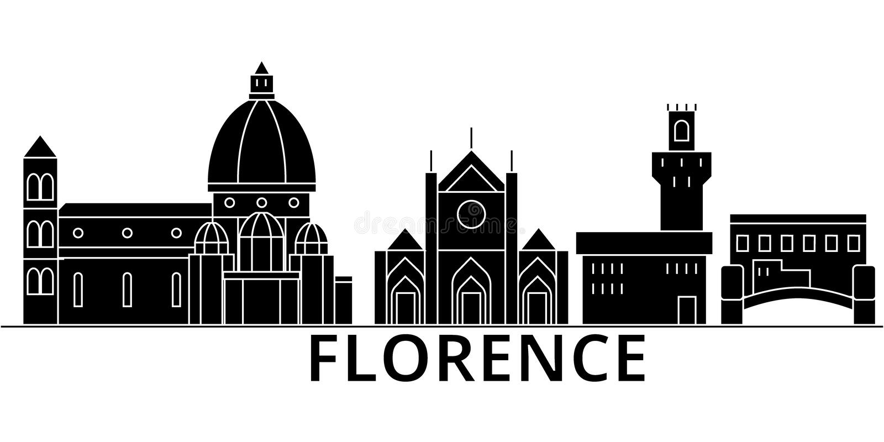 Ο διανυσματικός ορίζοντας πόλεων αρχιτεκτονικής της Φλωρεντίας, εικονική παράσταση πόλης ταξιδιού με τα ορόσημα, κτήρια, απομόνωσ διανυσματική απεικόνιση