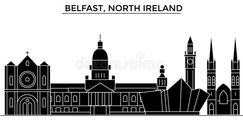 Ο διανυσματικός ορίζοντας πόλεων αρχιτεκτονικής του Μπέλφαστ, βόρεια Ιρλανδία, εικονική παράσταση πόλης ταξιδιού με τα ορόσημα, κ ελεύθερη απεικόνιση δικαιώματος