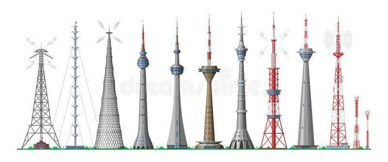 Ο διανυσματικός σφαιρικός ορίζοντας πύργων υψώθηκε οικοδόμηση κεραιών στο κτήριο πόλεων και ουρανοξυστών με την επικοινωνία δικτύ ελεύθερη απεικόνιση δικαιώματος