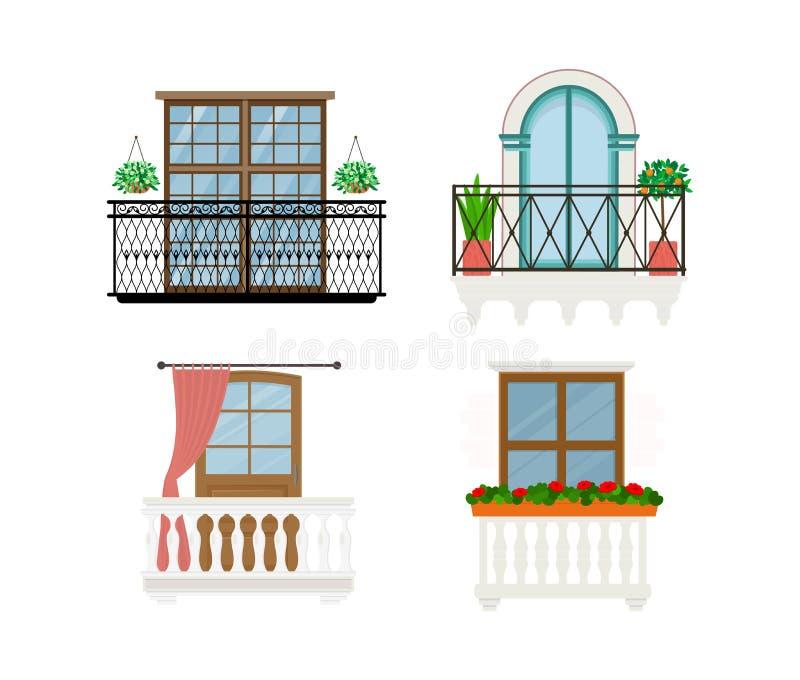 Ο διανυσματικός τρύγος μπαλκονιών ο τοίχος προσόψεων παραθύρων κιγκλιδωμάτων της οικοδόμησης του συνόλου απεικόνισης όμορφης αρχι απεικόνιση αποθεμάτων