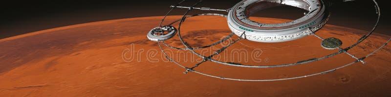 Ο διαστημικός σταθμός με το διαστημόπλοιο στην τροχιά της τρισδιάστατης απεικόνισης υποβάθρου επιστημονικής φαντασίας του Άρη πλα διανυσματική απεικόνιση