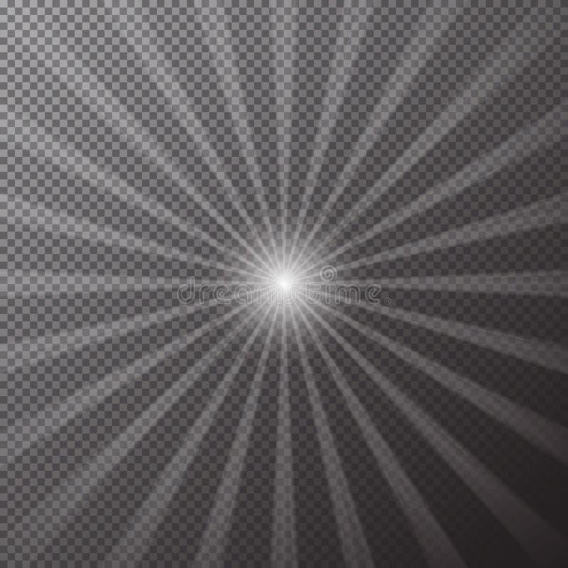 Ο διαφανής φωτεινός ήλιος λάμπει σε ένα ελεγμένο υπόβαθρο Μαγικές ακτίνες της επίδρασης ήλιων Διάνυσμα illustrat διανυσματική απεικόνιση
