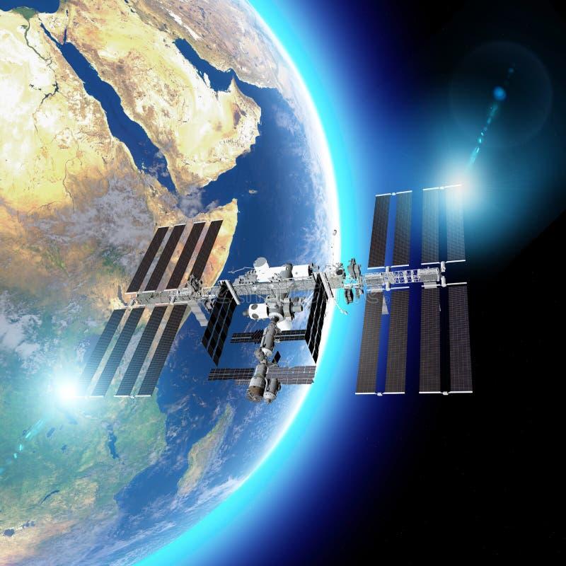 Ο Διεθνής Διαστημικός Σταθμός ISS είναι ένας διαστημικός σταθμός, ή ένας κατοικήσιμος τεχνητός δορυφόρος, στη χαμηλή γήινη τροχιά διανυσματική απεικόνιση