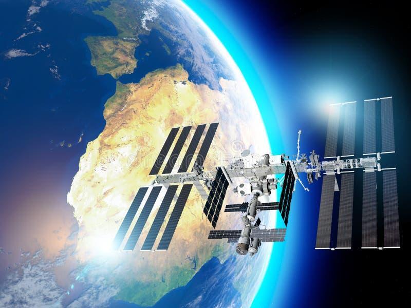 Ο Διεθνής Διαστημικός Σταθμός ISS είναι ένας διαστημικός σταθμός, ή ένας κατοικήσιμος τεχνητός δορυφόρος, στη χαμηλή γήινη τροχιά απεικόνιση αποθεμάτων