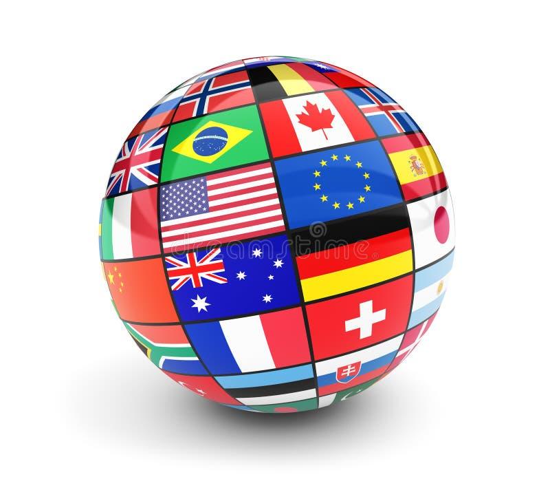 Ο διεθνής κόσμος σημαιοστολίζει τη σφαίρα στο άσπρο υπόβαθρο ελεύθερη απεικόνιση δικαιώματος