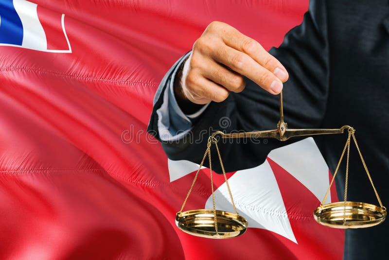 Ο δικαστής κρατά τις χρυσές κλίμακες της δικαιοσύνης με το κυματίζοντας υπόβαθρο σημαιών Nήσων Ουώλλις και Φουτούνα Θέμα ισότητας στοκ εικόνες
