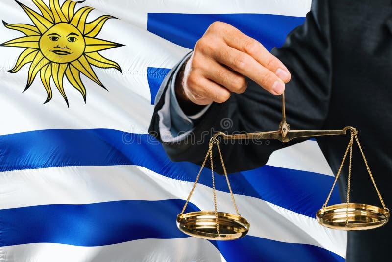 Ο δικαστής Ουρουγουανών κρατά τις χρυσές κλίμακες της δικαιοσύνης με το κυματίζοντας υπόβαθρο σημαιών της Ουρουγουάης Θέμα ισότητ στοκ εικόνα με δικαίωμα ελεύθερης χρήσης