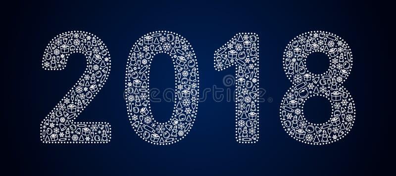 Ο δικτυωτός άσπρος χειμώνας λογαριάζει το 2018 δύο χιλιάδες δεκαοχτώ, γεμισμένος με ένα σχέδιο σε ένα νέο θέμα έτους διανυσματική απεικόνιση