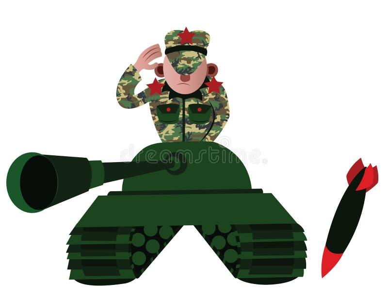 Ο διοικητής δεξαμενών διανυσματική απεικόνιση