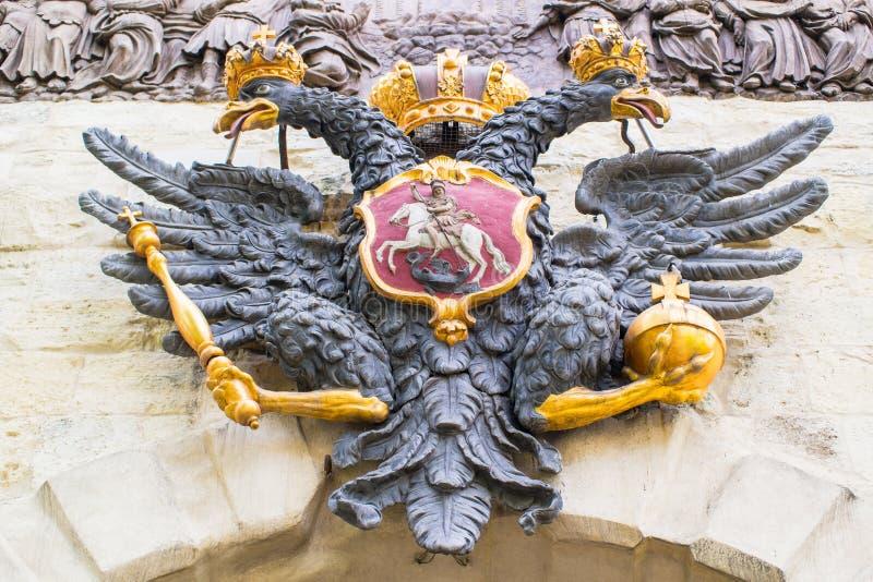 Ο διπλός-διευθυνμένος αετός στο Peter& x27 πύλη του s E r r στοκ φωτογραφία