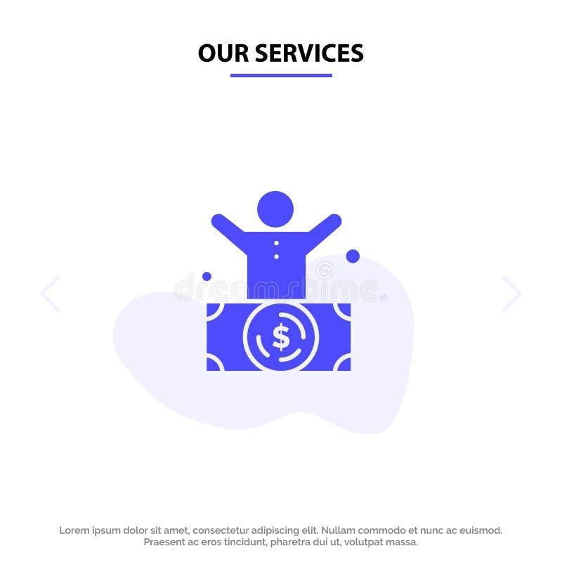 Ο δισεκατομμυριούχος υπηρεσιών μας, άτομο, εκατομμυριούχος, πρόσωπο, πλούσιο στερεό πρότυπο καρτών Ιστού εικονιδίων Glyph διανυσματική απεικόνιση
