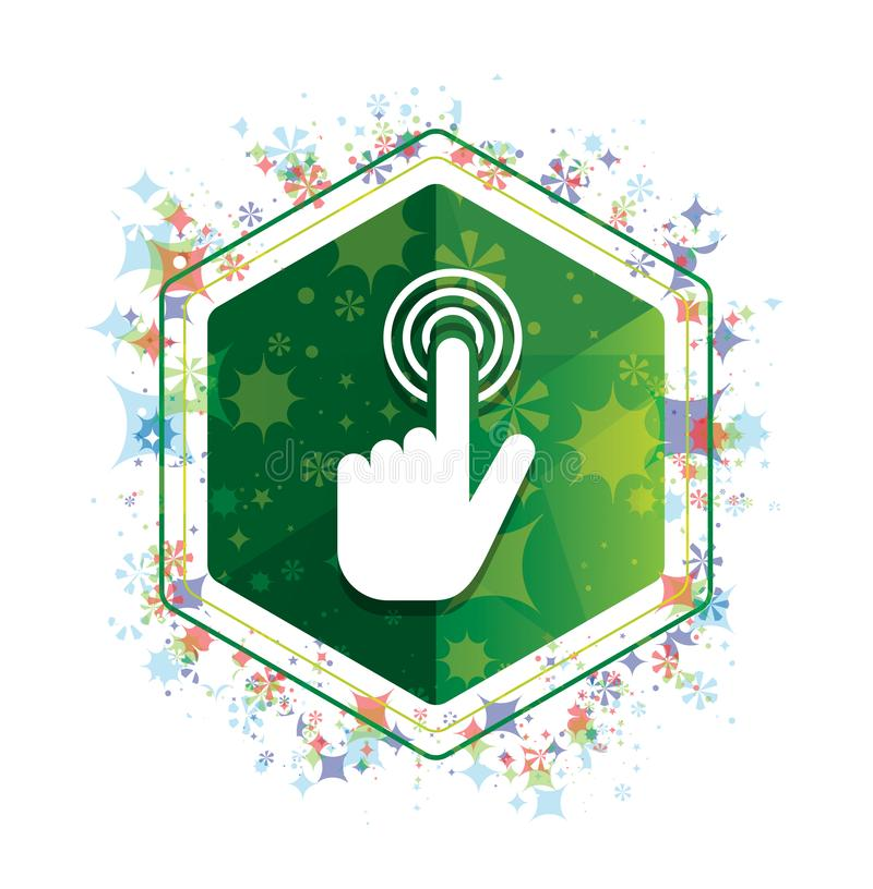 Ο δρομέας χεριών χτυπά πράσινο hexagon κουμπί σχεδίων εγκαταστάσεων εικονιδίων το floral διανυσματική απεικόνιση