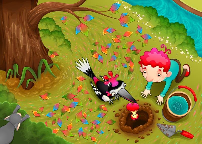 Ο δρυοκολάπτης και το αγόρι σπέρνουν έναν σπόρο μήλων ελεύθερη απεικόνιση δικαιώματος