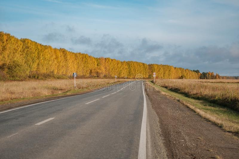 Ο δρόμος ασφάλτου γυρίζει δεξιά, γύρω από το δάσος φθινοπώρου, την άκρη του δρόμου κατά μήκος του δρόμου στοκ εικόνα με δικαίωμα ελεύθερης χρήσης