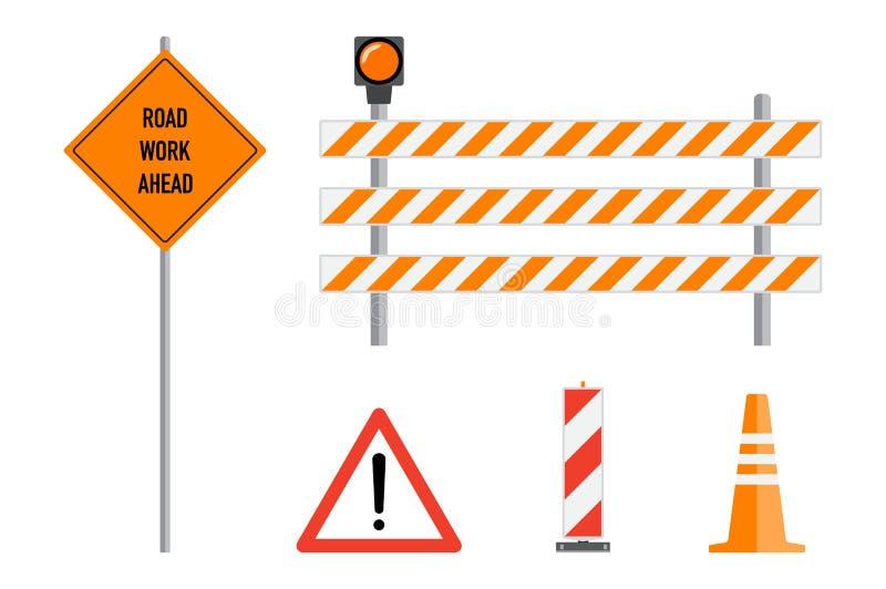 Ο δρόμος λειτουργεί τα σημάδια καθορισμένα, επίπεδη διανυσματική απεικόνιση Δρόμος εργασίας μπροστά, απεικόνιση αποθεμάτων