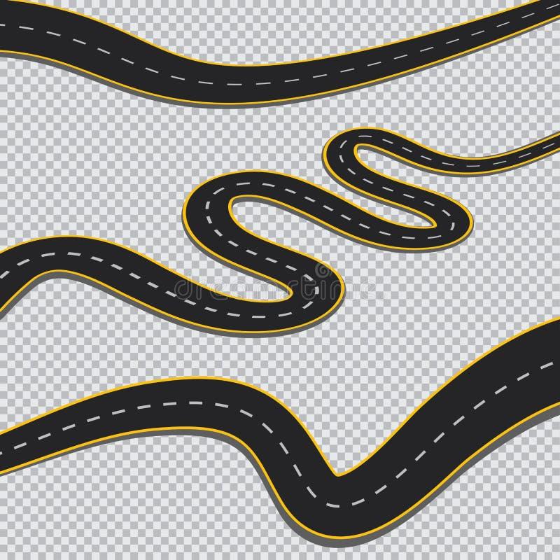 Ο δρόμος με πολλ'ες στροφές απομόνωσε το διαφανές υπόβαθρο ελεύθερη απεικόνιση δικαιώματος