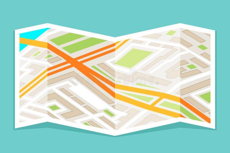Ο δρόμος ναυσιπλοΐας διευθύνσεων οδών πόλεων δίπλωσε την αστική θέση χαρτών εγγράφου που οι επίπεδες πτυχές σχεδιάζουν τη διανυσμ ελεύθερη απεικόνιση δικαιώματος